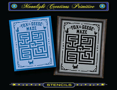 Primitive Stencil~Vintage~FOX & GEESE MAZE Game Bd~Goose Aesop Fable Victorian