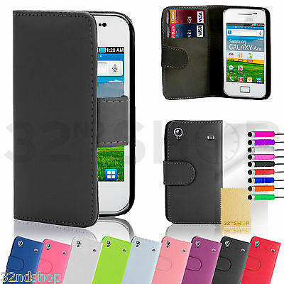 Samsung Galaxy Ace S5830 book wallet case + free screen protector and stylus