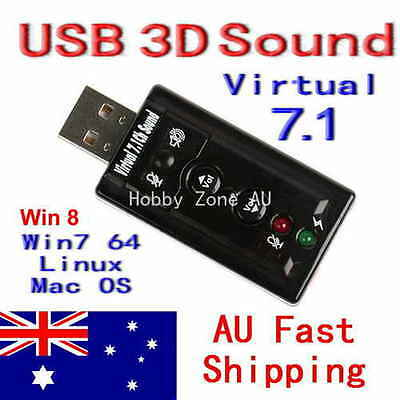 USB 2.0 AUDIO SOUND CARD EXTERNAL ADAPTER 3D VIRTUAL 7.1 CH Win7 8 Linux Mac OS