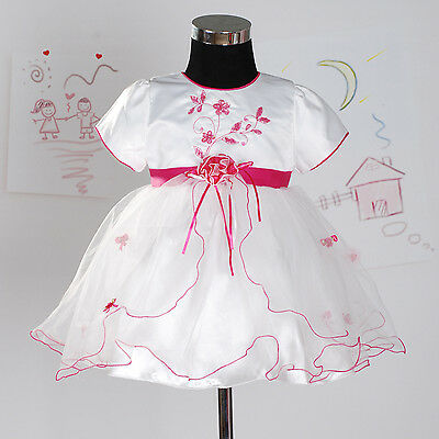 New Christening Party Flower Girl Dress in Hot Pink,White,Lilac,Red 3-18 Months
