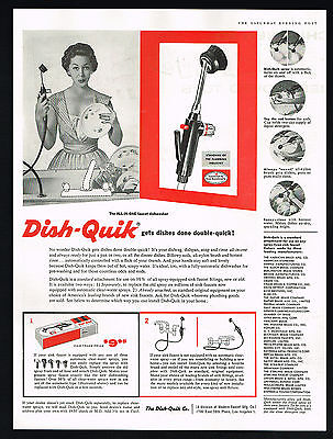 1955 Dish Quik All In One Faucet Dishwasher Vintage Magazine Print Ad