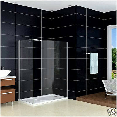 1500 x 800mm Walk In Shower Enclosure Wet Room Glass Screen +Stone Tray R76