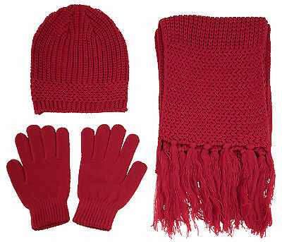 High Quality Warm Knitted Winter Set Women Men Solid Beanie Gloves Scarf Set