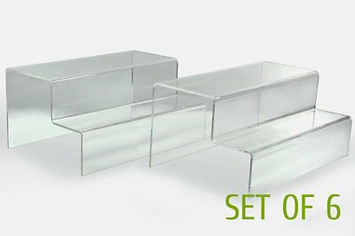 """6 x Clear glossy Acrylic 2-tier step display Riser Stand 10""""Lx4""""Hx5""""D ST003-6SCL"""