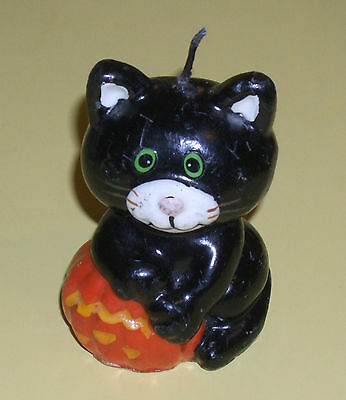 "Cute black/white 3.25"" tall cat kitten figurine with pumpkin Candle,  Many Nicks"