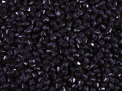 Crystal Glass Bicone Beads Purple 6mm. 100pcs Beading Jewellery FREE POSTAGE