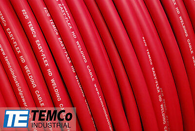 WELDING CABLE 2/0 RED 20' CAR BATTERY LEADS USA NEW Gauge Copper AWG