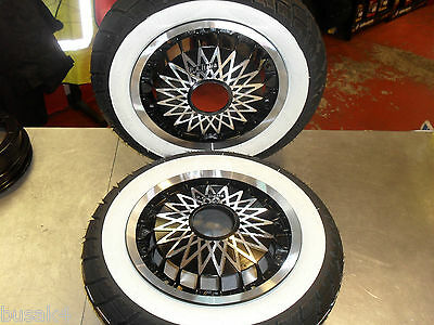 Vespa Px 125 Lml Star 125 Spare Wheel Rim Kit X2 Black Diamond 350X10 White Wal