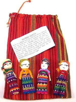 4 Large Guatemalan Worry Dolls In A Pouch Textile Bag