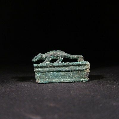 Superb ancient Egyptian bronze miniature bronze mongoose coffin