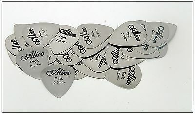 Lots of 24 pcs New 0.3mm Stainless Steel guitar picks Alice