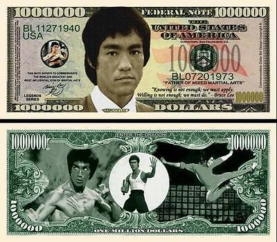 BRUCE LEE BILLET 1 MILLION DOLLAR ! Série Karaté kung-fu free fight Art martiaux