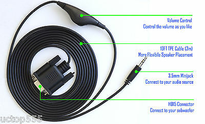 Logitech Z-2300 Control Pod Bypass Cable With Volume Control z 2300 no subwoofer