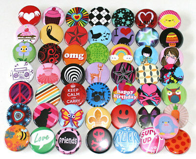 50 x POP FUN FASHION KIDS PARTY BADGES - 32mm Assorted Mixed Buttons Pins Lot