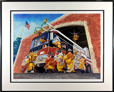 Firefighter Looney Tunes Lithograph Art Firefighting Where One Goes We All Go