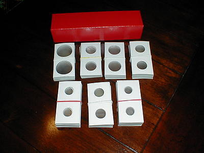 100 2x2 Cardboard Penny Cent Coin Holders Flips + One 2x2x9  Red Storage Box