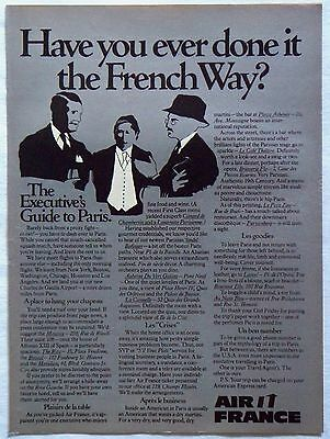 Vintage 1975 Air France Airlines Magazine Ad Executive's Guide to Paris