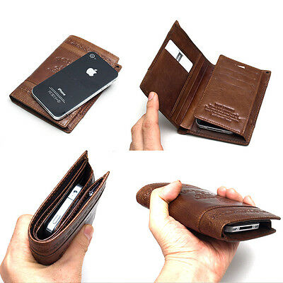 New Genuine Leather Trifold Wallet 12 Credit Card Slots Purse Zippered Pocket