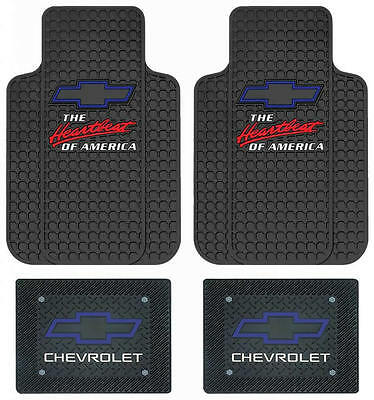 4pc Chevrolet Chevy Heartbeat of America Black Rubber Floor Mats MADE IN USA NEW