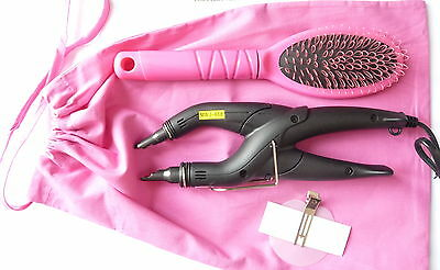 HOT FUSION HEAT CONNECTOR IRON KIT for PRE-BONDED NAIL TIP + pink brush & bag