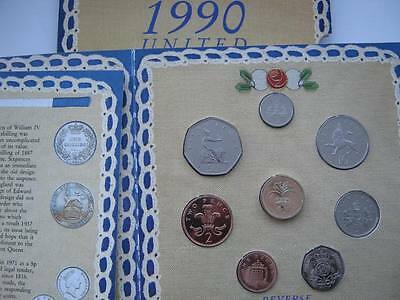 1990 Royal Mint B UNC coin colection year set. Damage to card outer.