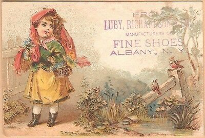 Victorian Trade Card-Luby, Richardson & Co Fine Shoes-Albany, NY-Girl & Birds