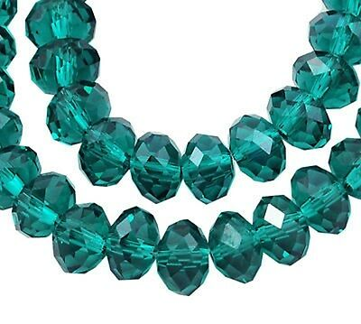 20 x 8mm AB Cyan Crystal Faceted Abacus Glass Beads