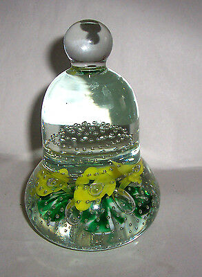 Joe St Clair Yellow Green White Bell Shaped Paperweight w/Controlled Bubbles