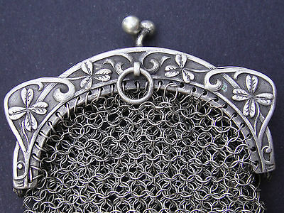 French Sterling Silver Art Nouveau 1900 Modern Style Little Mesh Purse