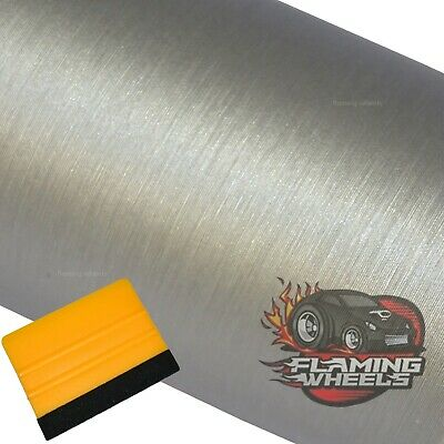 3m x 75cm Brushed aluminium alu SILVER wrap film decal sticker car FREE SQUEEGEE