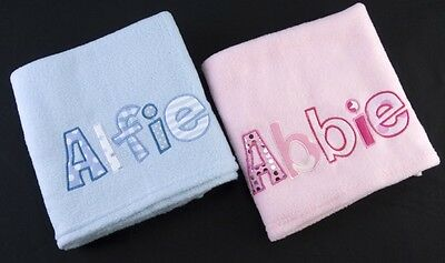 Personalised Baby Blanket Girl Boy Gift Christening New Baby Any Name