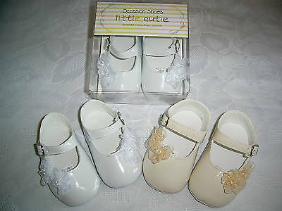 Baby Girls Patent Flowers Pram Shoes White,cream,pink Christening,wedding,party