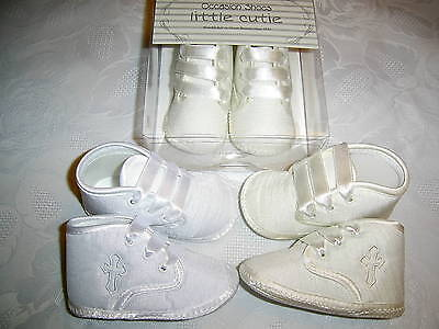 Little Cuties Baby Boys Cross Pram Shoes / Boots Christening,white & Pale Ivory