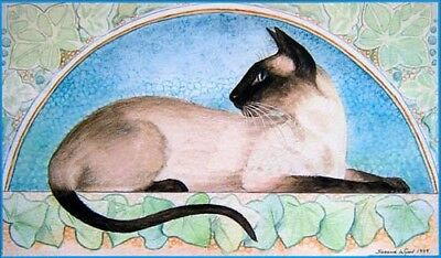 Large Signed Sealpoint Siamese Cat Art Nouveau Painting Print By Suzanne Le Good