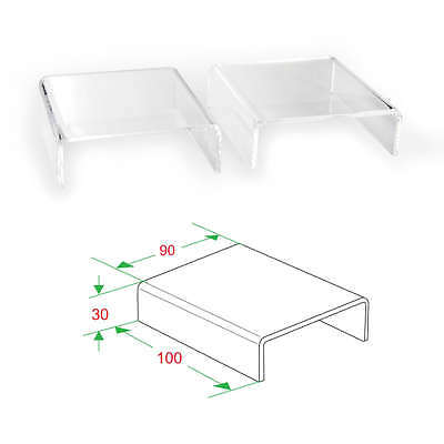 """2x Clear Acrylic Riser Stand counter jewelry display 4""""L x 1-3/16""""H x 3-1/2""""D"""