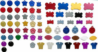 Dog Tag Cat Tag, Pet ID ALUMINIUM TAGS, VARIOUS SHAPES & SIZES, ENGRAVED Options