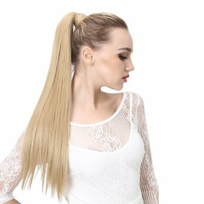 High Ponytail Clip-in Human Hair Extension W/ Drawstring 3lengths 16colors