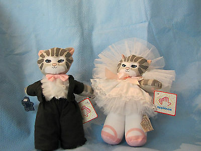APPLAUSE DOLLY CAT TABBY KITTEN BRIDE & GROOM DOLLS with tags