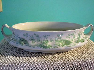 Alfred Meakin England Dover Green White Table Service Oval Bowl Circa 1950's