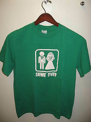 Game Over Straight Same Sex Marriage Bride Groom Comedy Doomsday Green T Shirt M