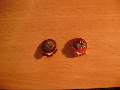 Lot of 2 Vintage Brass Pin Backs with a Face on the front