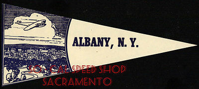 ORIGINAL VTG TRAVEL LUGGAGE WATER DECAL ALBANY NEW YORK CAR AUTO TAG PENNANT OLD