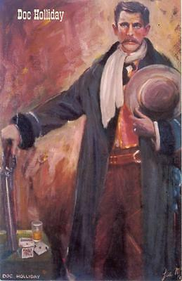 Doc Holliday /  Lea McCarty Painting Gunfighter Vintage 1960s Wild West Postcard
