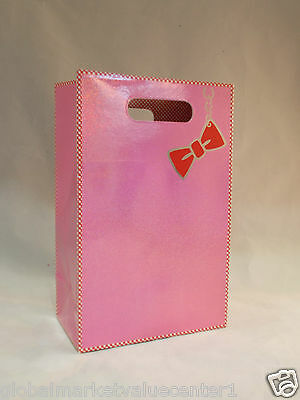Bath & Body Works Shiny Glitter Pink Red Bow Small Party Gift Bag NEW