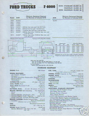 1967 Ford Trucks F-6000 Specifications Sheet