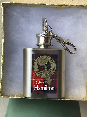 Clan Hamilton Hip Flask 1oz S/S Key Ring Clan Crest Fantastic Stocking Filler.