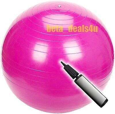 60Cm Gymball Fitness Exercise Swiss Girls Gym Fit Yoga Ball Medium Pink + Pump