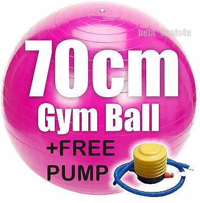 70CM GYMBALL FITNESS EXERCISE SWISS GYM FIT YOGA BALL PINK +FOOT or HAND PUMP