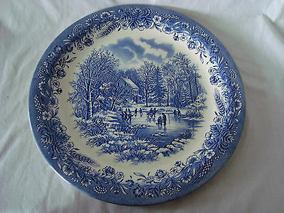 "CHURCHILL ENGLAND BLUE WILLOW 12-1/2"" DISH - SCENE WINTER SKATING ON LAKE"