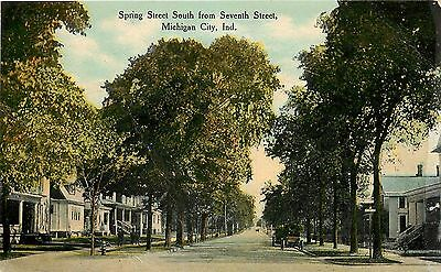 Vintage Postcard, Spring Street South from Second Street, Michigan City, Indiana